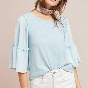 Anthropologie Antioch Ruffled-Sleeve Top new